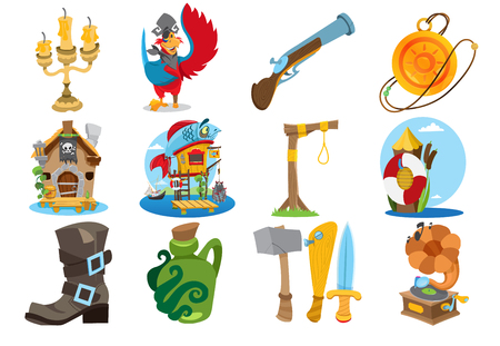 Set illustrations on the theme of pirates. Fairy-tale cartoon characters and objects. Rogues and trophies.
