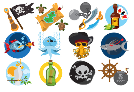 Set illustrations on the theme of pirates and marine inhabitants. Fairy-tale cartoon characters and objects. Rogues and trophies.