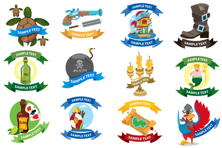 Set on a pirate theme icons. Logos with a banner for text with a picture of marine life and pirate goods. Stickers for design theme parties and childrens products.