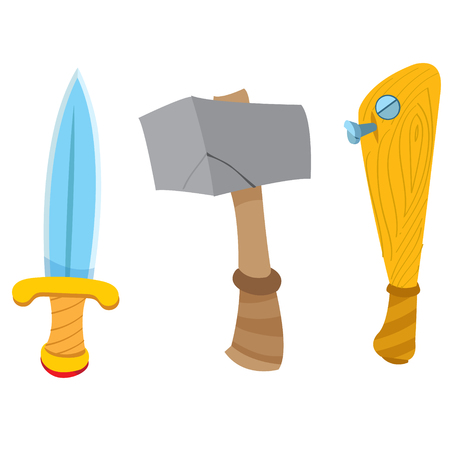 Dagger, hammer and baseball bat. Cartoon drawing for gaming mobile applications. Illustration