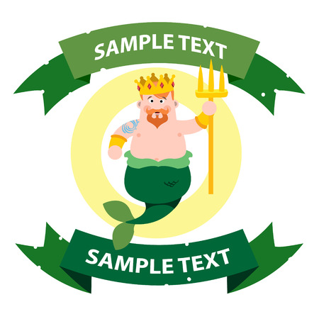 king neptune: Neptune with ribbon banner. Cartoon character is king of the sea. Cartoon drawing for gaming mobile applications.