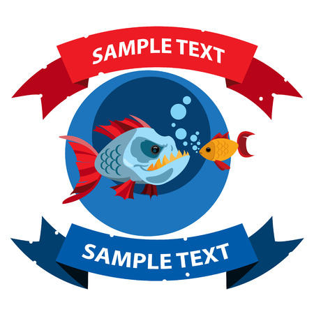 Piranha and goldfish with ribbon banner. Clipart on the marine theme. Animal protection.