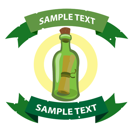 Message in a bottle. Illustration on the pirate theme with ribbon banner. Illustration