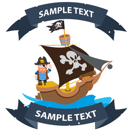 Ship with black sails. Pirate frigate with ribbon banner. Pictures on a naval theme. Illustration