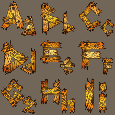 plywood: English alphabet from pieces of wood. The original font design of the pieces of plywood. Illustration