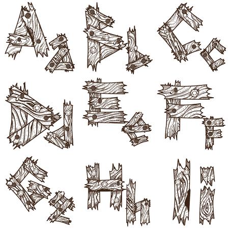 Englisch Alphabet Aus Holzstücken. Die Ursprüngliche ...