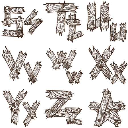 plywood: English alphabet from pieces of wood. The original font design of the pieces of plywood. English letters for coloring.