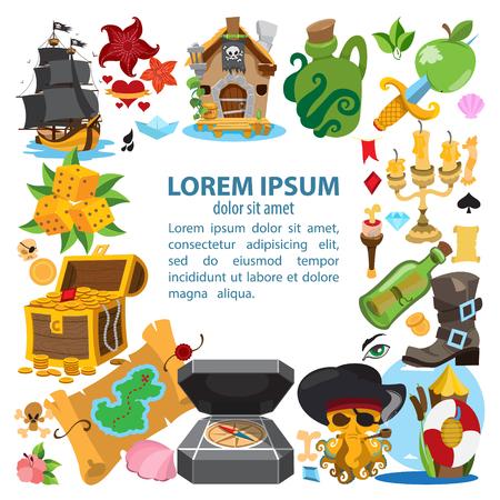 Het plein frame op de piraten thema. Hilarische karakters in cartoon-stijl voor het ontwerp van spelletjes voor kinderen en een verscheidenheid aan goederen.