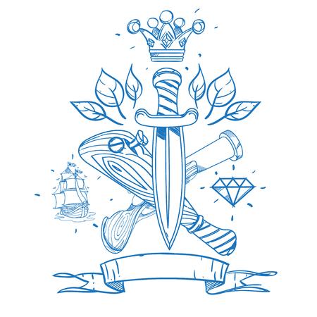 Bosquejo De Tatuaje Con Una Corona Y Un Bate De Béisbol. Ilustración ...