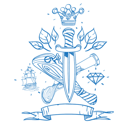 baseball stuff: Sketch of tattoo with daggers, a crown and a baseball bat. Outline illustration for coloring with machetes. Drawing on themes Ganster to design T-shirts, playing cards, theme parties. Illustration