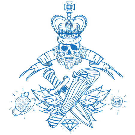 eye sockets: Sketch of tattoo with a crown and a baseball bat. Outline illustration for coloring with machetes. Drawing on themes Ganster to design T-shirts, playing cards, theme parties. Illustration