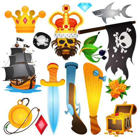 Set illustrations with pirate attributes. Various items Medieval Pirates. Drawing on themes Ganster to design T-shirts, playing cards, theme parties. Vektoros illusztráció
