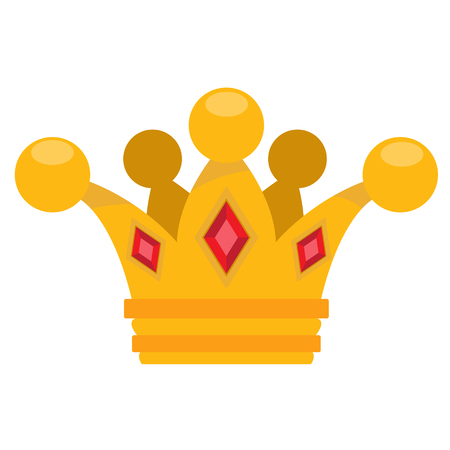 Gold crown logo. Cartoon headdress king. Illustration for the game cloakroom. Sticker for gaming mobile applications