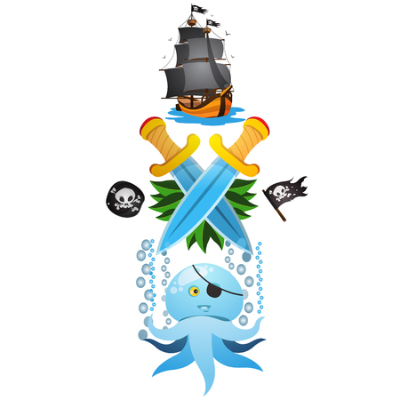 attribute: Sketch of tattoo with a crowns, octopus and frigate. Drawing on themes Ganster to design T-shirts, playing cards, theme parties. Illustration