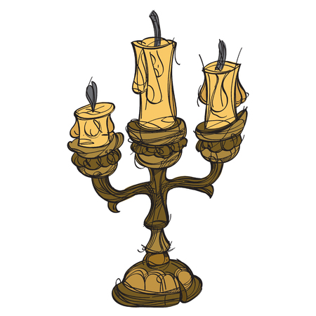 Candlestick on three candles. Vintage household items. Cartoon drawing for gaming mobile applications. Illustration