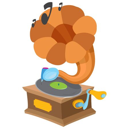 attribute: Gramophone. Ancient musical instrument. Vintage household items. Cartoon drawing for gaming mobile applications.