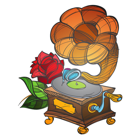 Gramophone. Ancient musical instrument. Vintage household items. Cartoon drawing for gaming mobile applications.