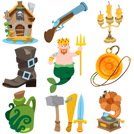 Set illustrations with pirate attributes. Various items Medieval Pirates. Cartoon drawing for gaming mobile applications.