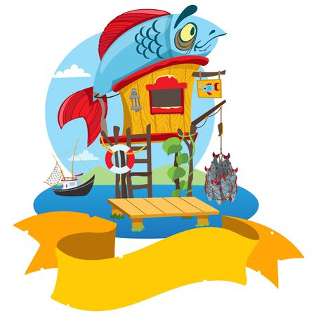 House fisherman. Cartoon illustration of a wooden hut on stilts near the river.