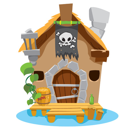 footbridge: Witches Hut. Cartoon illustration of a house sorceress. Drawing for gaming mobile applications.