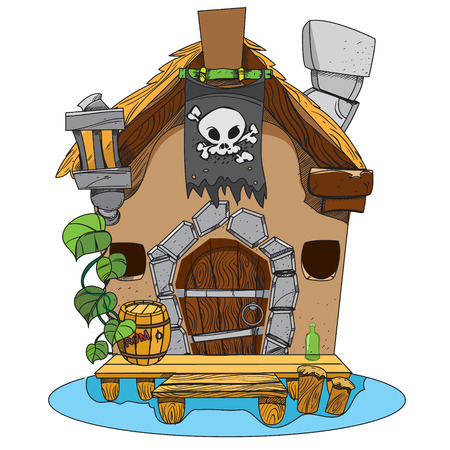 Witches Hut. Cartoon illustration of a house sorceress. Drawing for gaming mobile applications.