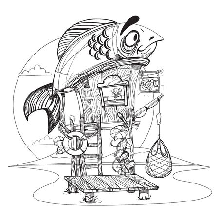 attribute: House fisherman. Cartoon illustration of a wooden hut on stilts near the river. Drawing for gaming mobile applications. Illustration for coloring.