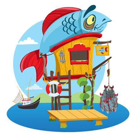House fisherman. Cartoon illustration of a wooden hut on stilts near the river. Drawing for gaming mobile applications.