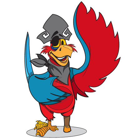 eye patch: Parrot in a pirate hat and eye patch. Cartoon illustration for gaming mobile applications.
