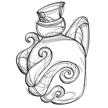 Green glass bottle of an unusual shape with a magic elixir. Cartoon drawing for gaming mobile applications. Illustration for coloring. Illustration