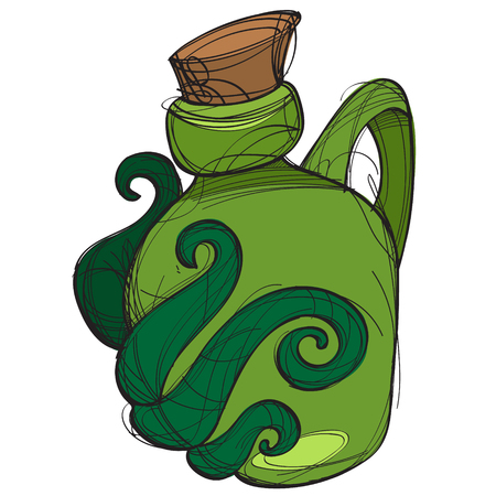 Green glass bottle of an unusual shape with a magic elixir. Cartoon drawing for gaming mobile applications.