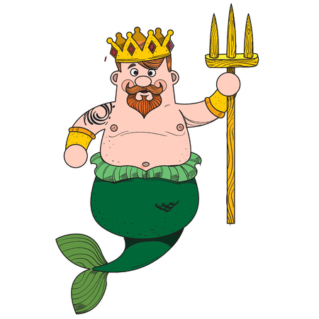 Neptune. Cartoon character is king of the sea. Cartoon drawing for gaming mobile applications. Illustration