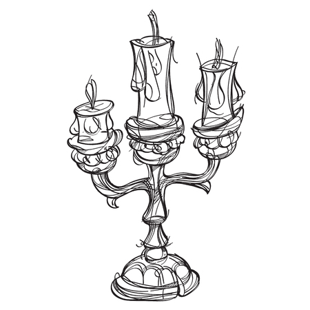 Candlestick on three candles. Vintage household items. Cartoon drawing for gaming mobile applications. Illustration for coloring. Illustration