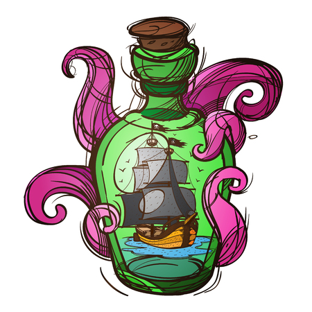 Pirate Frigate in a green glass bottle sketch of a tattoo. Illustration for design t-shirts and other items.