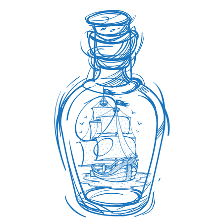 buccaneer: Pirate Frigate in a green glass bottle. Monochrome illustration for design t-shirts and other items. Sea monster sticker. Illustration for coloring. Illustration