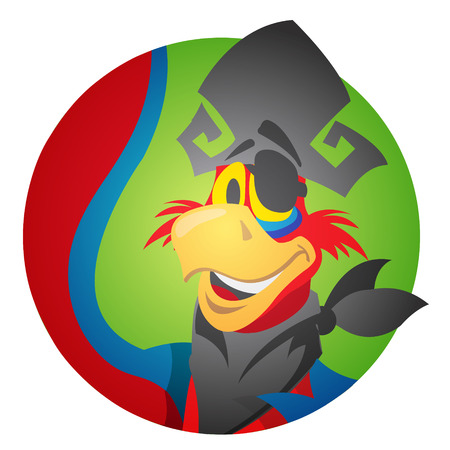 Round sticker with the image of a cheerful parrot in a pirate hat and eye patch. Cartoon illustration for gaming mobile applications and for design t-shirts and other items. Avatar parrot. Illustration