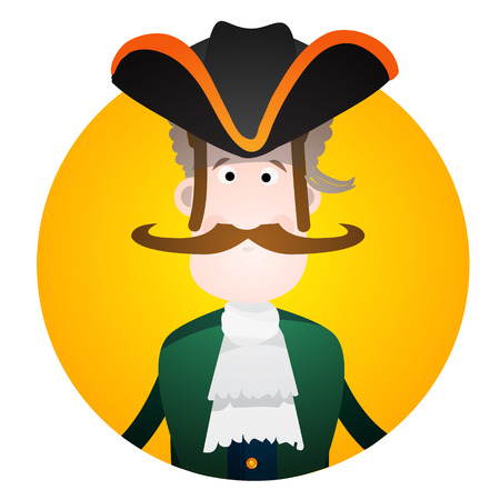 cocked hat: Round sticker with the image of a fun pirate in a cocked hat and eye patch. Cartoon illustration for gaming mobile applications and for design t-shirts and other items. Avatar pirate. Illustration