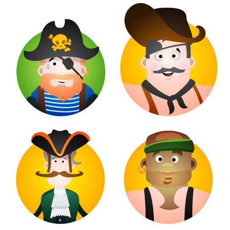 Set of four round of avatars with a picture of pirates. Cartoon illustration for gaming mobile applications and for design t-shirts and other items.