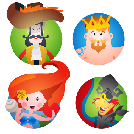 king parrot: Set of four round of avatars with a picture of pirates. Captain, Neptune, Mermaid and a parrot. Cartoon illustration for gaming mobile applications and for design t-shirts and other items.