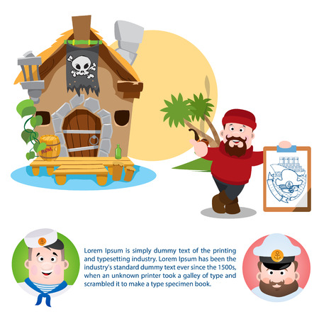 The poster for the pirate party. The leaflet with the sailor, the captain and fisherman. Cartoon illustration for gaming mobile applications and for design other items. Illustration