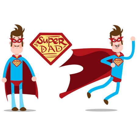 Super dad. A thin man in a superhero costume. A tall man in blue tights with a red cloak.