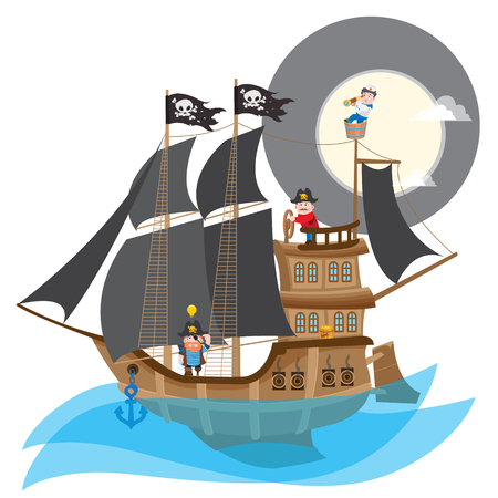 Pirate Frigate. Large a ship with black sails and the Jolly Roger. Illustration