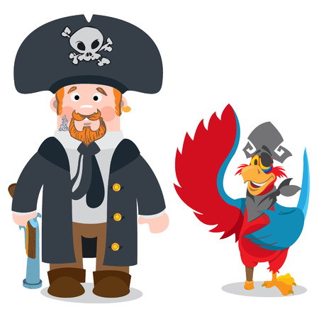 Pirate Captain and Parrot. Cartoon characters man and bird. Drawing on themes Ganster to design T-shirts, playing cards, theme parties. Illustration