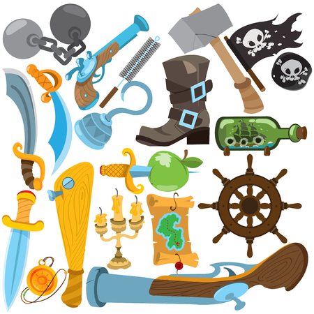 candelabrum: Set illustrations with pirate attributes. Various items Medieval Pirates. Drawing on themes Ganster to design T-shirts, playing cards, theme parties.