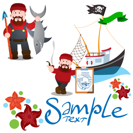 A set of illustrations on the theme of fishing. Fisherman with a shark and a tablet, a fishing boat, the decor of the starfish.