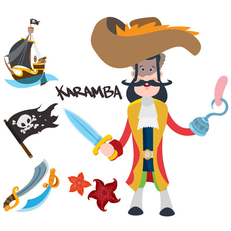 Pirate Captain. Cartoon illustration for gaming mobile applications and for design other items.