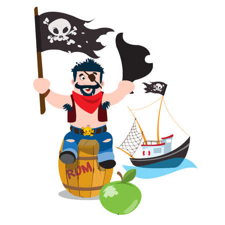 A set of illustrations on the pirate theme. A man sitting on a wooden barrel and holds the Jolly Roger and tricorne. Small fishing boat.