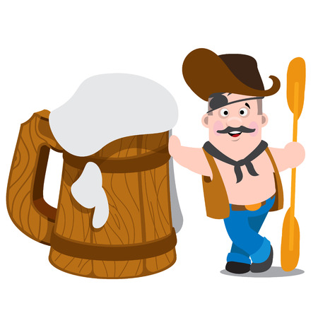 frothy: Cheerful man with an oar stands leaning on a huge wooden mug of frothy beer. Illustration
