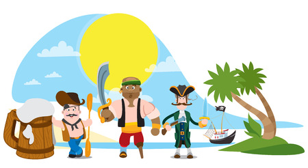 Illustration with the image of a band of pirates on a desert island.