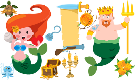 Neptune and mermaid. Banner from an old parchment with space for text. Various items Medieval Pirates. Illustration