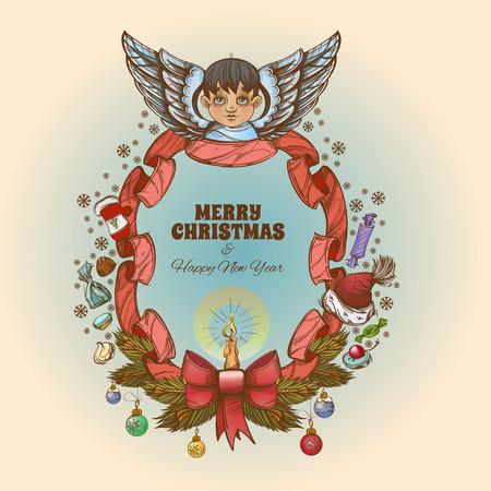 Bellissimo angelo con cornice decorativa vintage fatta di ornamenti natalizi e nastro. Archivio Fotografico - 90687596